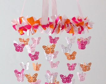 Pink & Orange Nursery Mobile Chandelier- Butterfly Mobile, Baby Shower Gift, Nursery Decor, Wedding Chandelier