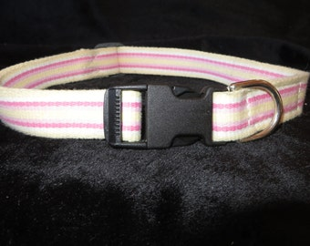 Medium Dog Collar - Pink Dots - vintage belt for a retro look - Pink, Yellow Striped