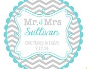 Wedding Labels- Round  Labels Stickers for  Wedding Favors-  Mr. and Mrs.- any colors