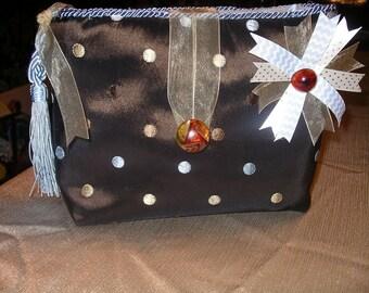 Vintage Brown brocade lwith blue dots ingerie bag