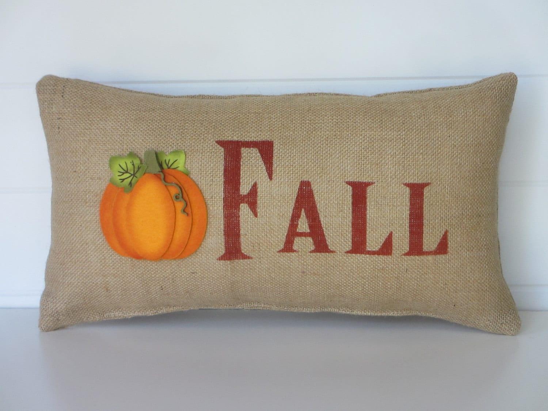 Decorative Pillows For Fall : Burlap Fall Pillow Pumpkin Pillow Fall Decorative Throw