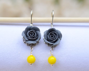 Grey Rose and Yellow Beads Earrings, Yellow and Grey Flower Earrings, Yellow and Grey wedding Jewelry, Bridesmaid Earrings.