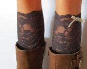 Brown Lace Boot Cuff,  Spring Stretch lace brown boot cuff, lace leg warmers, ribbon and button.
