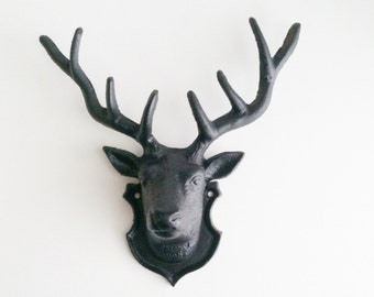 Black Faux Taxidermy Deer Head, Modern Rustic Antlers, Trendy Home Decor, Woodland Nursery Wall Decor, Jewelry Organizer, Fake Deer