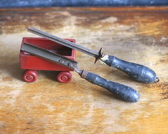 Vintage Industrial Grunge Tool Set Wood Handles Scraper Burnisher