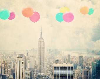 New York Photography - Balloons over the City - fine art print - vintage photography - Manhattan  - New York skyline - balloons