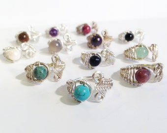 Sterling Silver Adjustable Rings - Mix and Match - Choose Your Stone