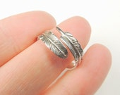 Sterling Silver Feather Wrap Ring, Feather Ring, Silver Feather Ring, Rings, Silver, Jewelry, Feather Jewelry, Wrap Rings, Adjustable Ring.