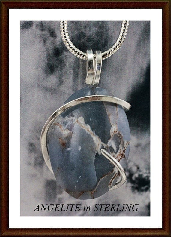 Natural Angelite Pendant In 925 Sterling Silver  CLOSEOUT
