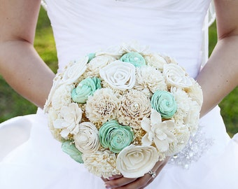 Wedding Bouquet, Sola wood Bouquet, Burlap Mint Bouquet, Alternative Bouquet, Mint Bouquet, Sola flowers, Wood Bouquet