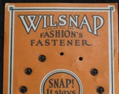 Orange Card of Black Snaps - Wilsnap Brand, Great Graphics - Vintage Antique - Fall, Autumn, Halloween Supplies