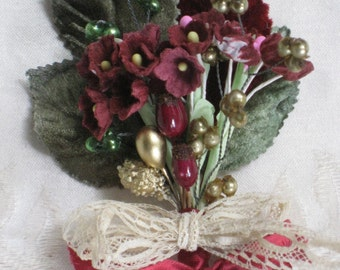 Vintage Millinery Bundle - Vineyard Corsage, Boutonniere, Embellishment Trim - OOAK - Autumn, Fall Supplies, Gift Decoration