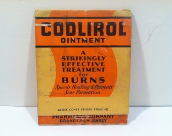 Codlirol Ointment Giant Matchbook Advertising for Burn Ointment