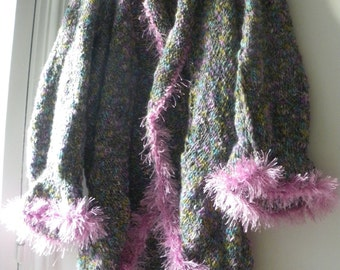 Elegant open handknitted long jacket,sweater,coat made with a wool shadowed with blue,green,pink,purple colors ,versatile material.