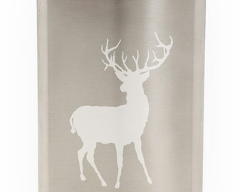 Big Game Deer Hunting Etched 8oz Flask With Funnel