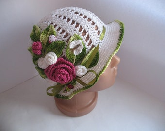 Hat Brim in White with Roses Flowers Crochet baby girl