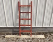 Reclaimed Wooden Ladder, Red Wash Finish, Blanket Rack, Tie Rack, Scarf Rack, Towel Rack