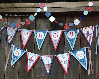 Ahoy It's A Boy/ Baby Shower Pennant Banner - Navy Blue, Light Blue, Red