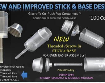 Push Pop Containers 100 count with New Screw In Stick