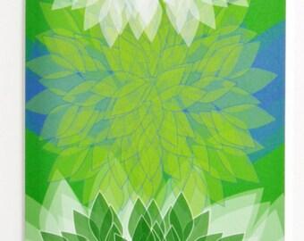 Bright colors dahlia greeting card, Design #2