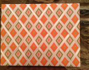 16x20 French Memo Board - unframed - Coral and Sage Ikat - orange and green - ikat