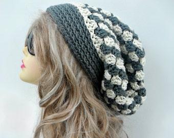 Crochet Slouchy Hat Gray Ladies Hat Girls Slouch Beanie Womens Winter Hat Fashion Accessories Hair Accessories Checker Hat