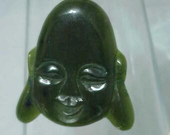 Antique Jadeite Pendant  14K Gold Bail   All Natural Jadeite              c1950