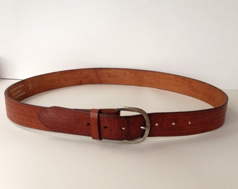 Vintage hand tooled leather belt 38/40