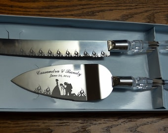 firefighter wedding cake cutter personalized buck and doe deer wedding toasting flute 14261