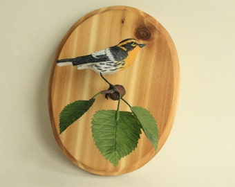 Carved Wooden Bird Wall Hanging Wood Carving of a Blackburnian Warbler Wood Sculpture Rustic Songbird Collectible Wood Carved Art