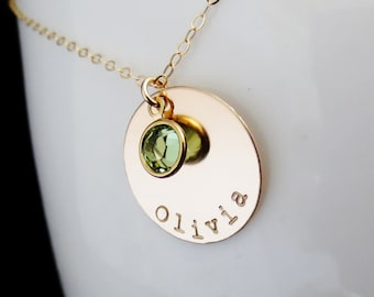 Personalized Gold Disc Birthstone Necklace, Childs Name, Handstamped Mommy Jewelry, Mothers Necklace