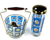 Mid Century Glass Ice Bucket and Drink Shaker Bar Set Blue and Gold