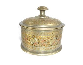 Vintage Brass Trinket Box Round with Etched Floral Design