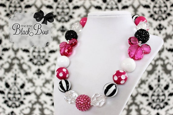 """MINNIE MOUSE Inspired """"Hidden Mickey"""" Chunky Necklace Pink & White Beads Child, Toddler or Baby Size Bubblegum Gumball Girls Beaded Necklace"""