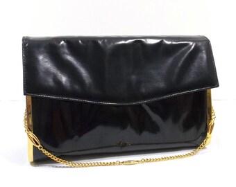 ROSINA FERRAGAMO SCHIAVONE Black Italian Leather Envelope Bag