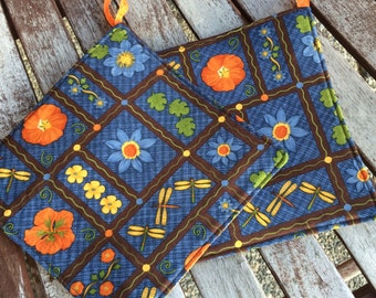 Two Pot Holders - Flowers and Dragonflies Debbie Mumm with Loops, Personalization Available