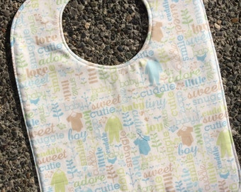TODDLER or NEWBORN Bib: Cutie Pie Boy, Personalization Available