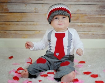 Valentines Day Baby Boys Tie and Suspenders GET THE SET - Grey and Red Tie Bodysuit with Suspenders with Crocheted hat
