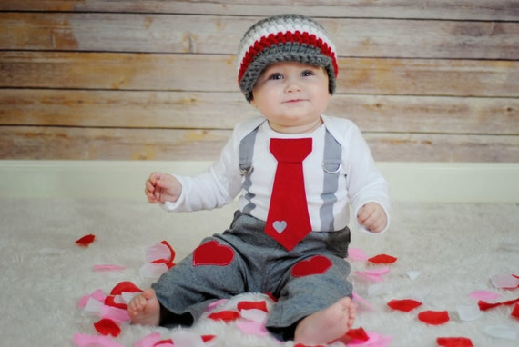 Valentines Day Baby Boys Tie And Suspenders Get The Set Grey