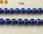 15 inch strand of Lapis lazuli smooth round beads 4 mm