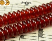 15 inch strand of natural Carnelian smooth rondelle abacus beads 2x6mm