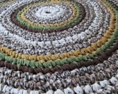 "Mountain Retreat Rug 42"" Crochet Rag Rug Round Cotton Washable Soft Handmade Kitchen Porch Country Primitive Homespun Brown Tan Green"