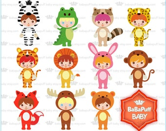 Jungle Animals Costumes Clipart ---- Personal and Small Commercial Use ---- BB 0731
