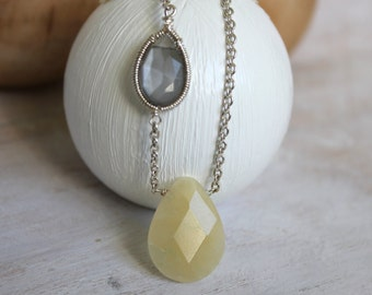 Silver Teardrop Necklace- Yellow Jade and Gray Moonstone  Pendant -Wire Wrapped Handmade Silver Jewellery.