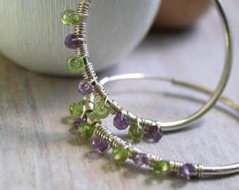 Beaded Hoops For Her - Hoop Earrings Large - Amethyst and Peridot  Green Earrings - Silver Jewelry - Gemstone Jewelry