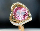 Engagement Ring -  1.8 Carat Pink Tourmaline Engagement Ring With Diamonds In 14K Rose Gold
