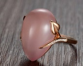 Engagement Ring -  23 Carat Rosy Quartz Engagement Ring With Diamonds In 14K Rose Gold