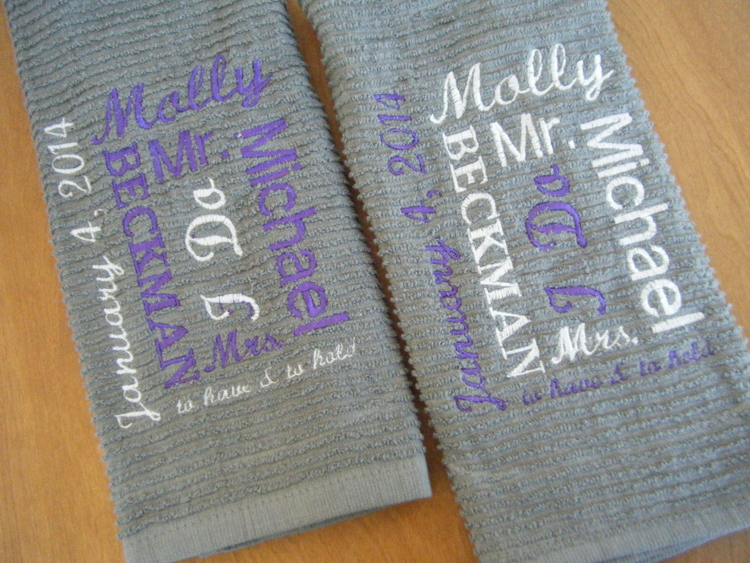 Personalised Wedding Gifts Towels : Personalized Kitchen Towel Wedding Gift Bridal Shower Gift