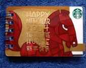 Recycled Starbucks Happy New Year 2014 Year of the Horse Gift Card Notepad