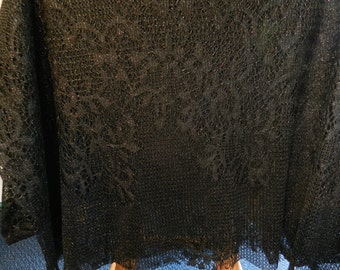 Fabric / 3 yards / Black lacey/ shimmer